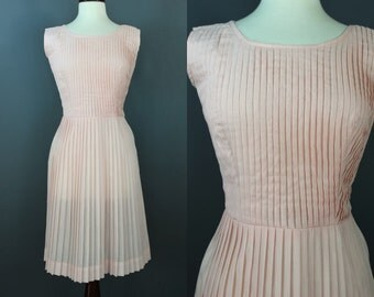 Early 60's Pink Pleated Day Dress