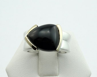 Vintage Black Onyx Sterling Silver and Gold Ring  #ONYX3-SR1