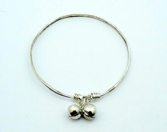With Rings On Her Fingers And Bells On Her...Wrists?  Fun Vintage Sterling Silver Bell Bangle Bracelet  #BELLBB-BB3