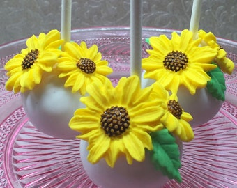 Cake Pops with Sunflowers, Wedding cake pops, Bridal Shower, baby shower