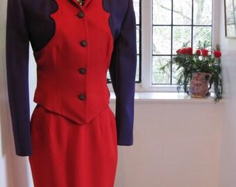 Myrene De Premonville Designer Vintage Red/Purple Wool Skirt Suit
