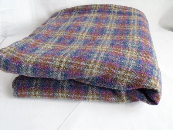 "wool checked fabric, heather fabric, multicoloured, large remnant, sold in half yards, 57.5"" drop"