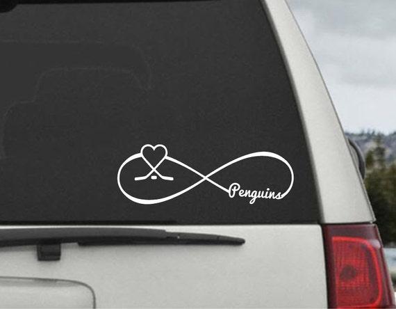 Pittsburgh Penguins Infinity Hockey Heart Decal  - Car Window Decal Sticker Laptop Vinyl Decal