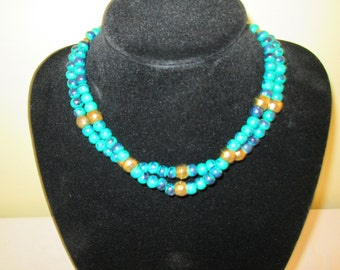 Turquoise and Gold Wooden Necklace