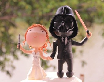 Witch and Sith wedding. Themed cake topper. Wedding figurine.  Handmade. Fully customization.