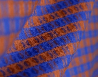 Brown & royal blue plaid vintage wool with intricate geometric pattern- small throw or shawl - fringe