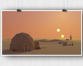 Tatooine Low Poly Poster