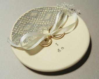 Wedding Ring Dish, Ring Plate, Ring Bearer Bowl, Ring Dish, Wedding Ring Holder, Ring Holder, Vintage Lace, Silk Ribbon,  Grey, Cream