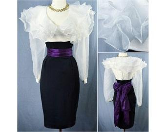vtg 80s half and half ruffle dress ⟢ vintage 1980s black and white wide ruffle dress ⟢ vintage 80s black and white sheer ruffle dress