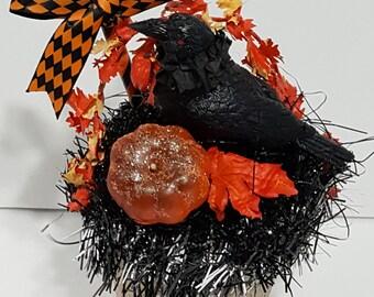 Halloween Peat Pot Raven Decoration