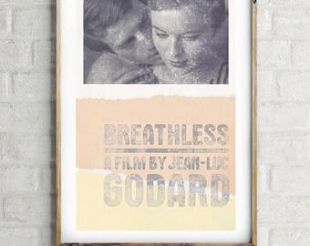"BREATHLESS, A Bout De Souffle - Godard, Original Art,  Minimalist Movie Poster 13 x 19"""