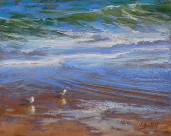 Ocean birds painting, Pastel seascape, Wave painting, Beach birds pastel, Unframed art, Beach seagulls painting, Lana Ballot, Ocean art