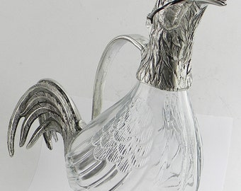Beautiful bottle decanter rooster in pure Italian pewter