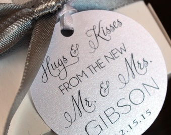 Hugs and Kisses Favor Tags from The New Mr. & Mrs. - Wedding Favor Thank You Tags -Personalized Wedding Favor Tags-  Set of 50