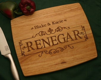 "Personalize Engraved Wood Cutting Board,~ Sale Carving Board with drip well. Cutting Boards,Wedding,Anniversary, 12"" x 10"" Personalized Gift"