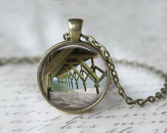 Beach Pier - Pendant Necklace or Keychain