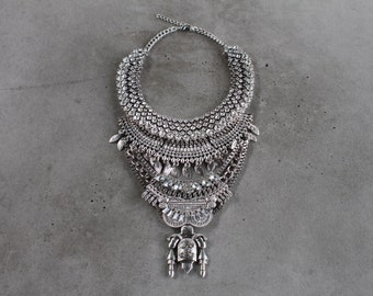 Statement Necklace - Handcrafted: Judah. Silver & clear crystal layered ethnic bohemian necklace