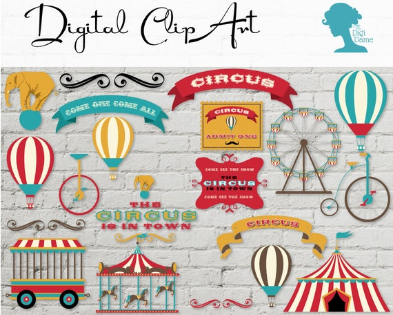 Digital scrapbooking clip art vintage circus buy 2 get 1 for Buy digital art online