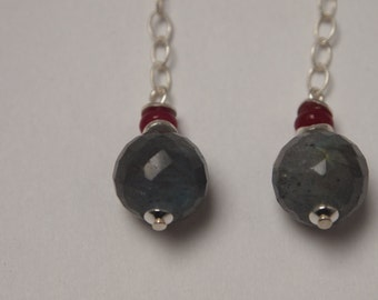 Long Elegant Sterling Silver Earrings with Labradorite and Red Jade