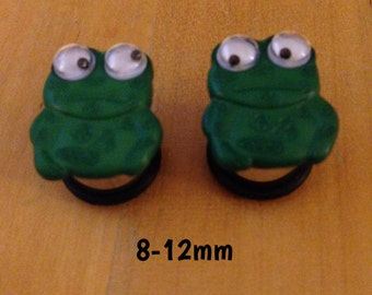 8mm-10mm-12mm green frogs with wobbly eyes plugs for stretched ears