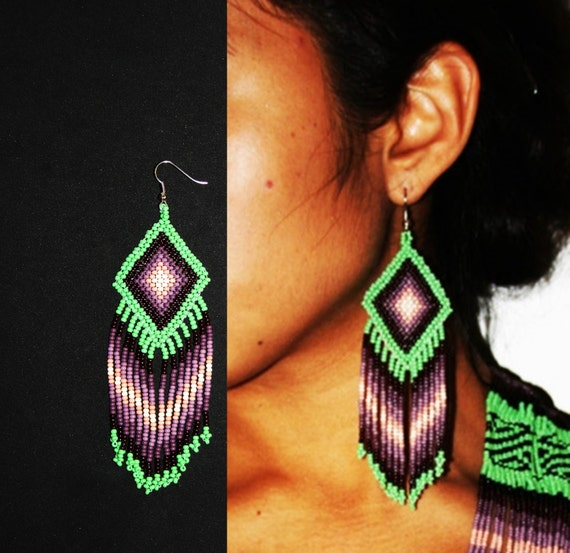 Native American Beaded Earrings, Huichol Earrings, Tribal Fashion Earrings, Seed Bead Earrings, Ojo de Dios Earrings, Native Earrings