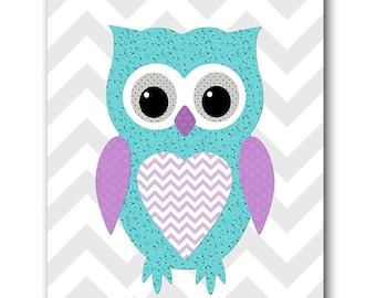 Grey Teal Purple Owl Wall Art for Children Printable Digital Print Baby Girl Nursery Art Digital Download Print 8x10 11X14 INSTANT DOWNLOAD