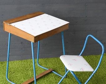 Vintage Children Desk Chair Newly Refurbished Upholstered Metal Wood Blackboard
