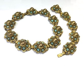 40s Brass & Blue Peking Glass Bracelet and Necklace | Brass Metal Turquoise Flower Set