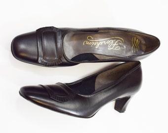 60s Size 9 Black Pumps | Leather Heels | Florsheim