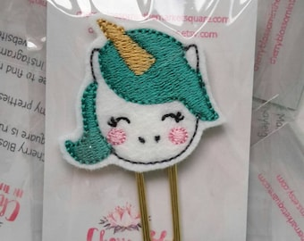 Unicorn Paper Clip in Teal