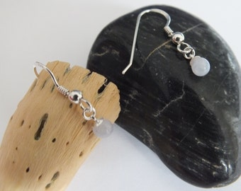 English Sterling Silver Blue Lace Agate Earrings