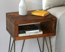 Sashi Bedside Table | Side Table | Small Table | Teak | Reclaimed Wood | Hairpin | Industrial Nightstands