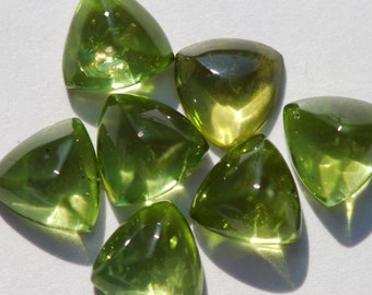 One Piece Peridot Trillion, Triangle, Pyramid Cabochon, 8 x 8, 8.5 x 8.5, 9 x 9 mm, lime green, polished back