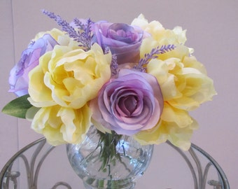 Beautiful  Silk Flower Arrangement - Purple  Rose, Yellow Peony  in Glass Vase with Faux Water