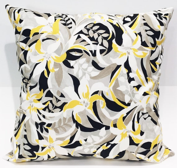 Black White And Yellow Decorative Pillows : Pillow cover 20x20 black yellow taupe and white by EclecticGypsyCo