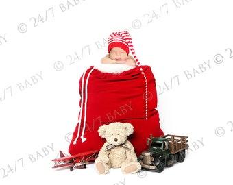 Digital Studio Backdrop Christmas Santa Bag Holiday Present Winter Prop Scene Newborn Baby Photography
