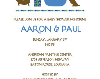 Baby shower invitation with puppies