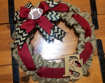 "Florida State wreath Burlap wreath Garnet Gold Florida State University Noles Seminole wreath22"" football season special!!! Seminoles"
