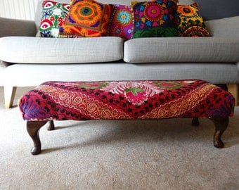 Shocking Pink Embroidered Eclectic Ubzek Footstool