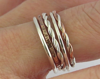 Set of 5 Stacking Rings - Mixed Metal Silver & Copper Stacking Ring  - Sterling Silver Stacking Rings