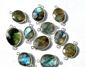 12% Valentine Day 1Pc 92.5 Sterling Silver n Natural Labradorite Faceted Bezel Connector Gemstone Station Connector Charm Wedding Bridal Jew