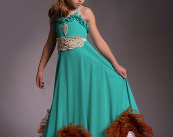 Flower girl dress, chiffon dress, beach dress, chiffon and lace, halter dress, bohemian dress-The Isabella dress, custom colors available.
