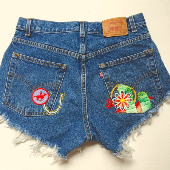 Embroidered levi s denim short by littlejackdenim on etsy