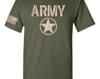 United States ARMY Star US FLAG on Sleeve Men's Tee Shirt 1453