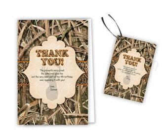Camo Birthday Party Thank You Card - Buck Camouflage Party Favor Tags - Hunter Birthday - Camo Thank You Tag - Party Tags Orange Hunting Boy