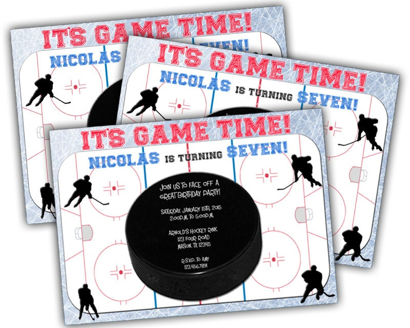 Printable Hockey Birthday Invitation Hockey Party Boys – Free Printable Sports Birthday Invitations