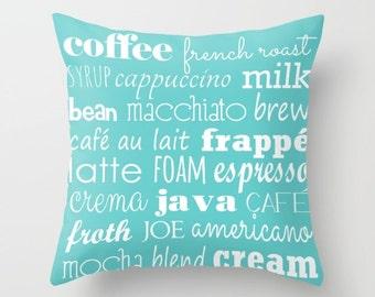 Coffee Pillow Cover, Cafe Pillow Cover, Coffee Pillow, Cup of Joe, Java Pillow Cover, Coffeehouse Pillow, Blue Pillow, Tiffany Dawn Smith