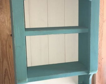 Shelf Towel/Paper Towel Holder French Country Shabby Chic Bathroom or Kitchen Teal/Buttermilk Distressed Wood