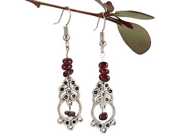Gemstone earrings Garnet jewelry Red gemstone jewelry Chandelier silver earrings Dangle earrings Red garnet earrings Natural gemstone Dryn