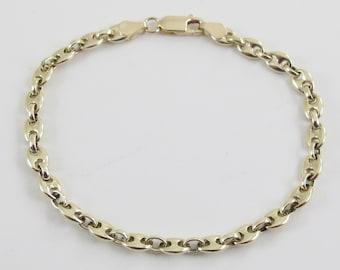 "14k Yellow Gold Anchor Link Charm Bracelet 7 3/4"" 10.5 grams"
